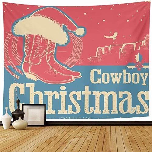 Tapiz Invierno Azul Americana Vaquero Navidad Zapatos occidentales Vacaciones de Papá Noel Rojo Celebrar Botas Sombrero Desierto Decoración para el hogar Tapices