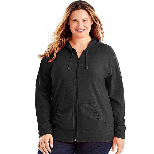 Just My Size Women's Full Zip Jersey Hoodie, Black, 3X