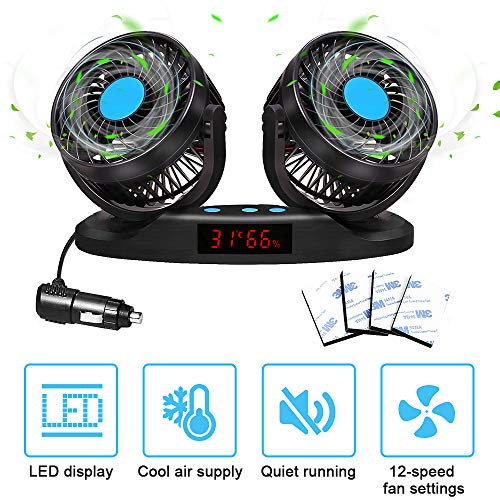 ELUTO Dual Head Car Fans Cigarette Lighter 12V//24V Fan Electric 3 Speed Car Cooling Fan 360 Degree Rotatable Car Fan for Car SUV RV Boat Auto Vehicles 5 Inches
