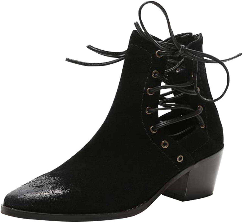 RSHENG Hollow Stiefel Der Frauen Frühling Und Herbst Mode Retro Mit Ankle Stiefel