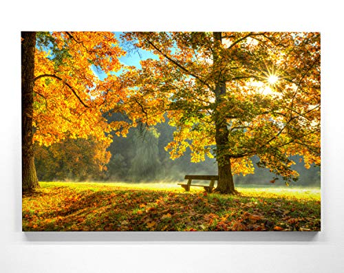 Atemberaubende Leinwand Herbstbilder - Herbstidylle Bank - als 120x80cm großes XXL Leinwandbild. Wandbild als Hintergrund und Deko für Wohnzimmer & Schlafzimmer. Aufgespannt auf Holzrahmen