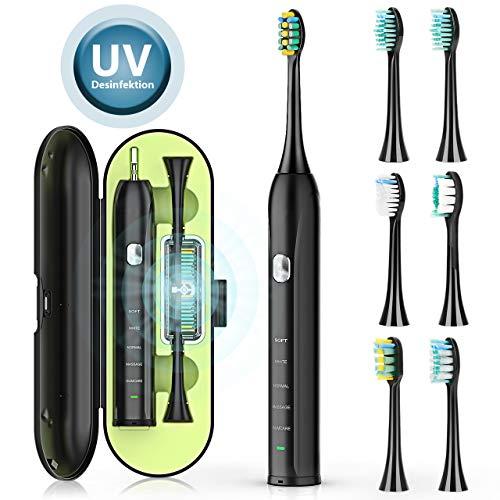 Elektrische Zahnbürste, UV Reinigung Schallzahnbürste 5 Reinigungs-Modi Ultraschall Zahnbürsten 45 Tage Ausdauer 2 Minuten Timer 6 Aufsteckbürsten Ultraschallzahnbürste