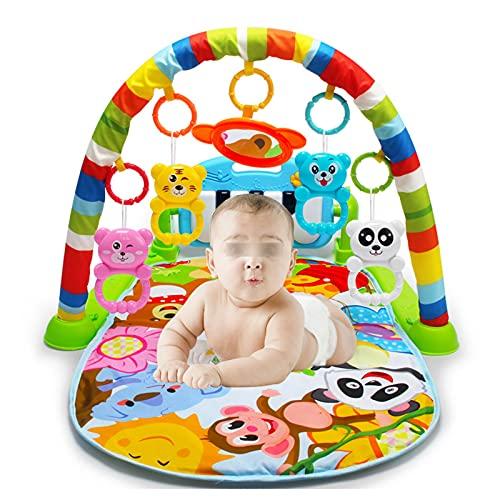 WZQZ Baby Gym Activity Play Mat,Recién Nacido Kick and Play Piano Fitness Rack Gimnasio con Música Y Luz,Sonajeros Y Espejo Extraíbles,Alfombra Descubrimiento Pequeños,para Niños Y Niñas
