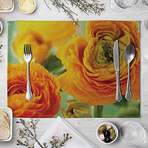 KnBoB Placemats Hard, Large Placemats Orange, Poinsettia Table Mats Set of 6, Square Placemats Outdoor