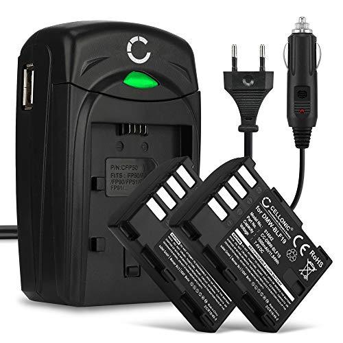 CELLONIC 2X Batería Compatible con Panasonic GH5 Lumix DC-GH5 DC-GH5s Lumix DMC-GH4 GH4 GH4r GH4h GH3 DMC-GH3h GH3a G9 DC-G9 DMW-BLF19E -BLF19 1600mAh Cargador DMW-BTC10 Cable Carga Coche Pila
