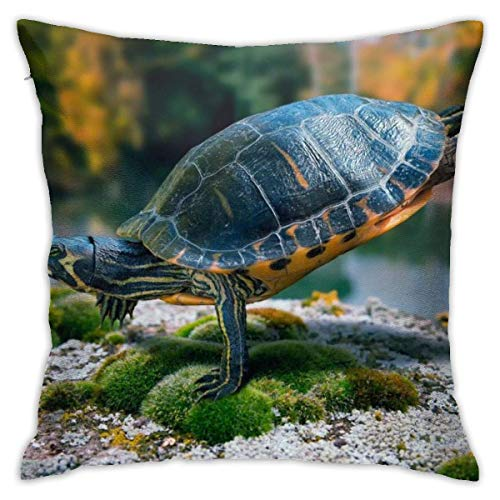 Hangdachang Throw Pillow Case 45cm x 45cm Turtle Swimming Pillowcase,Square Throw Covers,Decorative Cushion for Sofa Couch Car
