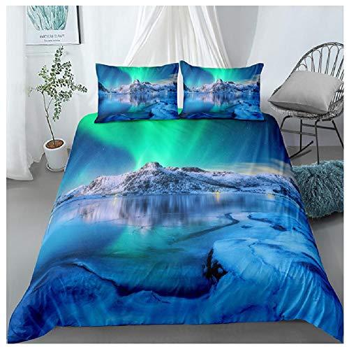BAIYANG Landscape 3D Bedding Set Scenictree Sun Comforter Sets Queen King Size Duvet Cover Pillowcases Home Bedroom Decor King(230x220cm)
