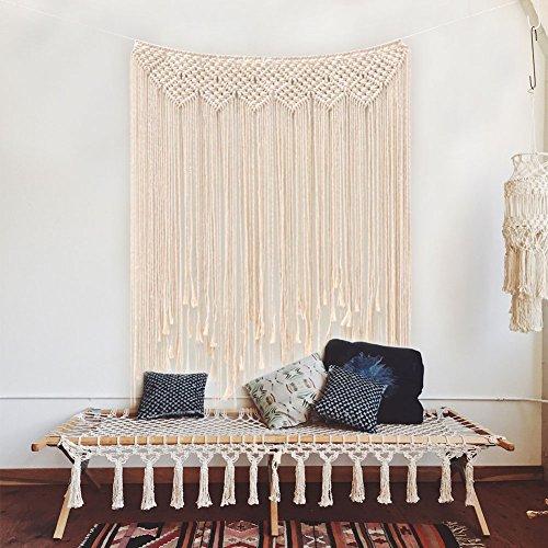 OurWarm Makramee Wandbehang Dekoration Baumwolle Handmade Woven Wandteppich Türvorhan Boho Wandbehang Dekoration, 115 x 100cm