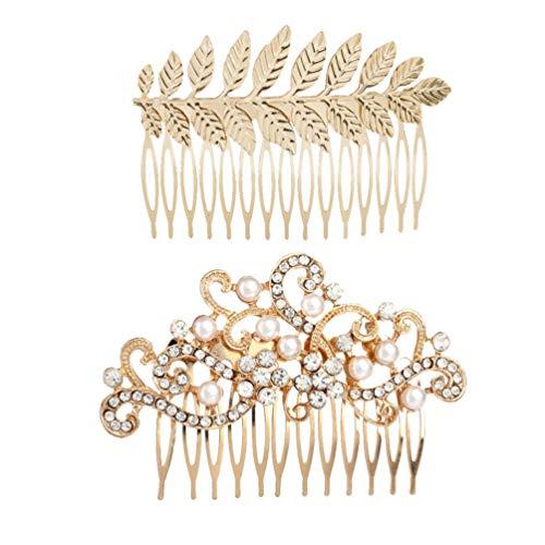 Lurrose Brautschmuck Perle Kristall Haarkamm Strass Braut Kopfschmuck für Mädchen Frauen für Hochzeit