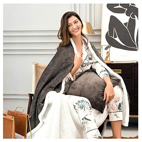 PAPALA Sherpa manta de cama de forro polar cálido mullido confort reversible microfibra manta sólida para cama y sofá 150 x 200 cm (gris)