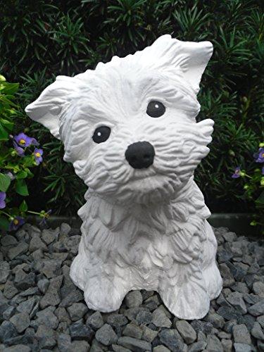 Steinfigur Hund 125/5, Gartenfigur Steinguss Tierfigur Weiß