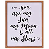 NIKKY HOME 12' x 15' Wood Framed Wall Poster Print with Quote Art You are My Sun My Moon and All My Stars
