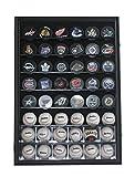 48 Baseball, Baseball Cubes, Hockey Pucks Display Case Holder Wall Cabinet, UV Protection Door, Lock. (Black Finish)