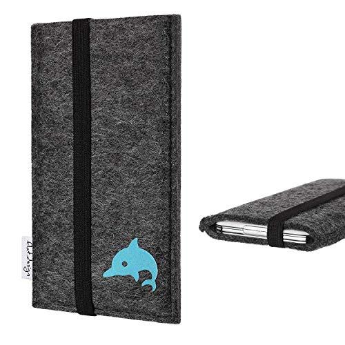 flat.design vegane Handytasche kompatibel mit Carbon 1 MKII mit Delphin (türkis) - Schutzhülle fair Made in Germany, anthrazit