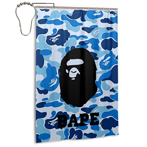 NA-1 Ba-pe Blue Camo Logo Poster Waterproof Polyester Fabric Bathroom Curtains Set with Hooks Modern Bathroom Decor(48 x 72 inch)