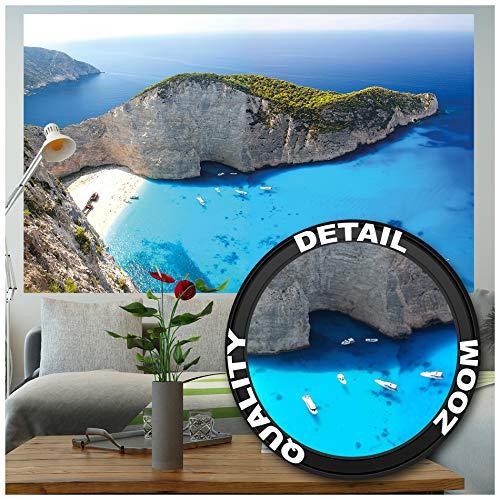 Great Art Zakynthos strand – muurschildering decoratie Griekenland scheepswrak Navagio Beach eiland zee Zant Greece mugglerboek fotobehang wandbehang fotoposter wanddecoratie