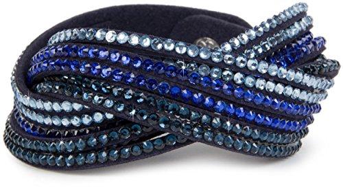 styleBREAKER weiches Strass Armband, eleganter Armschmuck mit Strassteinen, Wickelarmband, 6x1-Reihig, Damen 05040005, Farbe:Dunkelblau/Hellblau-Blau-Dunkelblau