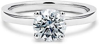 espere Womens CZ Diamond Solitaire Ring 1 Carat Round-Cut 14K White Gold Plating