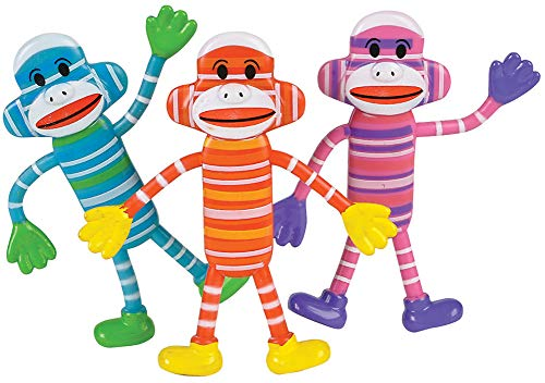 Bendable Classic Sock Monkey Toy Party Favor Gift Costume Accessory