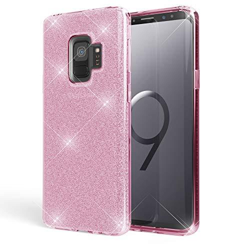 NALIA Custodia compatibile con Samsung Galaxy S9, Glitter Copertura in Silicone Protezione Sottile Telefono Cellulare, Slim Cover Case Protettiva Scintillio Bumper, Colore:Pink