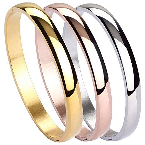 MILAKOO Womens Edelstahl Armband Plain Polished Finish Stulpearmband 7 Zoll