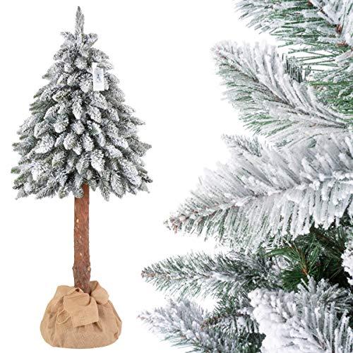 FairyTrees Árbol de Navidad Artificial en Maceta, Picea Tronco Natural, con Copos de Nieve, el Tronco de un Verdadero árbol, 150cm, FT21-150
