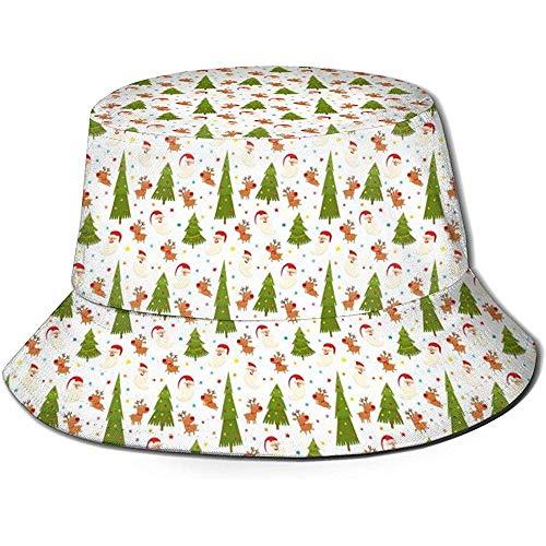 Bucket Cap,Árbol De Navidad con Renos Y Gorro De Pescador Negro De Santa, Sombreros De Cubo Ancho para Adultos para La Caza, La Pesca, El Campamento