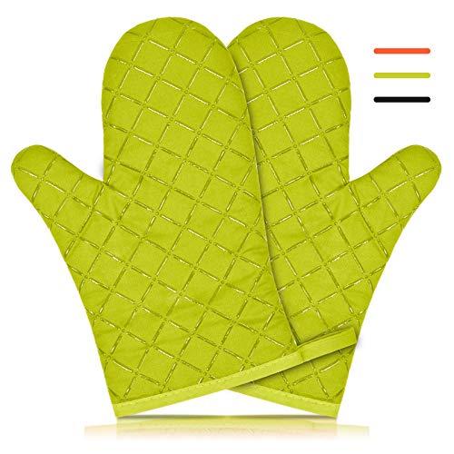 KATELUO Guantes de Horno,1 Par de Guantes de Cocina +1 Pieza de Mantel Individual de Silicona,Guantes Profesionales de Silicona para Horno,para Cocina - Cocinar/Hornear/BBQ (Verde)
