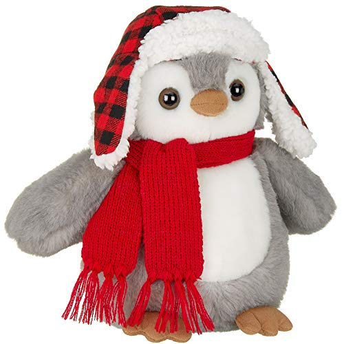 Bearington Cappy Plush Penguin Stuffed Animal with Hat and Scarf, 9.5 Inches