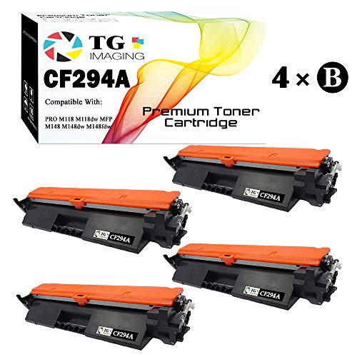 (4-Pack, Black) TG Imaging Compatible HP 94A CF294A Toner Cartridge 294A for use in HP Laserjet Pro M118dw MFP M148dw MFP M148fdw Printer