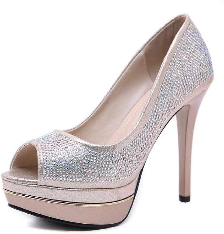 JQfashion Women's High-Heeled shoes Diamond Fishmouth Waterproof Terrace Sexy Night Club