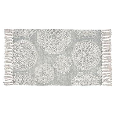 Seavish Cotton Printed Rug, Decorative Grey Mandala with Tassels Hand Woven Rag Rug Entryway Thin Throw Mat with Non Slip Pad For Laundry Room Bedroom Dorm, 20''W x 32''L