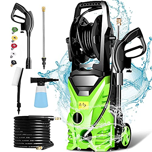 Homdox Pressure Washer 1.72 GPM Power Washer 1500W Electric Pressure Washer with 5 Nozzles,Hose Reel...