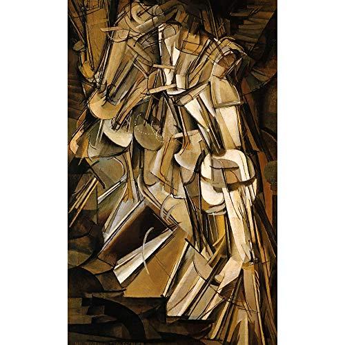 hllhpc Marcel Duchamp (Marcel Duchamp) Desnudo bajando Las escaleras, impresión Moderna del Arte de la Pared y Cuadros de Pintura de Lienzo para la decoración del hogar de la Sala de Estar 70X100