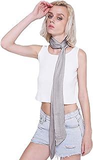 Heidi Summer Skinny Scarf Solid Color Necktie Choker Long Narrow Waistband Belt Cotton Linen Wrist Scarf