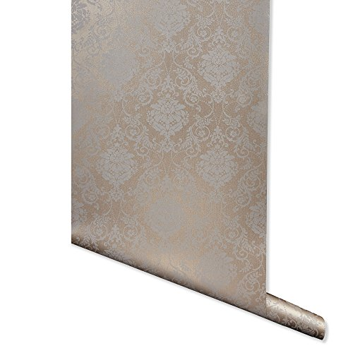Metallic Imprint, Bronze Damask Wallpaper for Walls - Double Roll - by Romosa Wallcoverings BB7303
