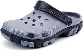 FDSVCSXV Mens Garden Clogs Mules, Lightweight for Men Summer Slippers Sandals Adjustable Non-Slip Water Shoes,Gray,39
