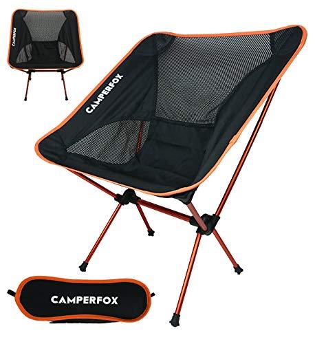 CamperFox Campingstoel, opvouwbaar met draagtas, outdoor-stoel, inklapbaar, 110 kg, licht, compact, robuust, visstoel, vouwstoel, tuinstoel, reizen, festivals, strand