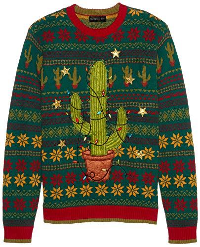 Blizzard Bay Men's Ugly Christmas Sweater Light UP, Green/Red, Medium
