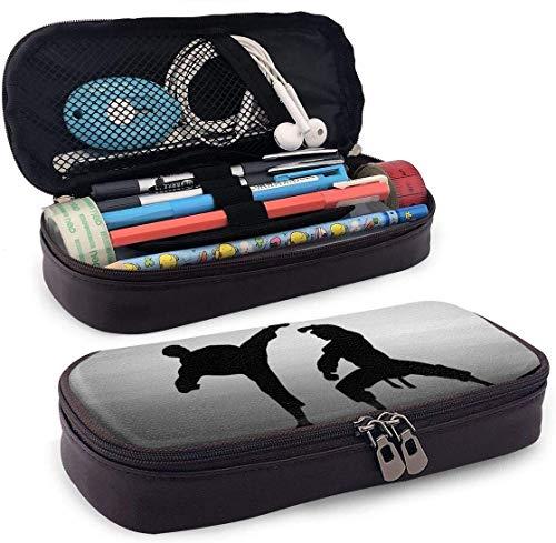 Leder Federmäppchen Kosmetiktasche Karate Silhouette Große Kapazität Halter Beutel Schreibwaren Organizer für Schule/Büro