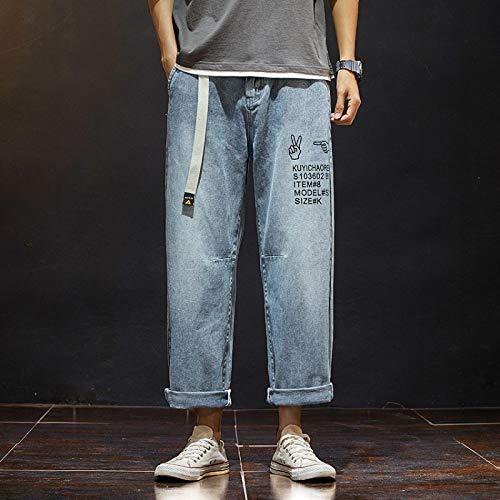 Vaqueros para Jeans Hong Kong Style Thin Men Jeans Pantalones Rectos Sueltos De Nueve Puntos Estudiantes Coreanos Pantalones Casuales Salvaj