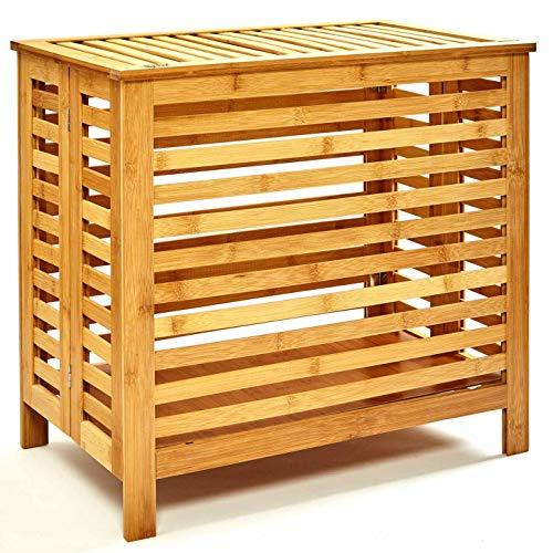 bambuswald©Cesto de bambú para la ColadaǀArcón ecológico - Cesta de lavandería con Tapa56.5 x 34 x 51.5 cmǀCesto de almacenaje - Mueble sólido para el baño - Contenedor para Ropa Sucia