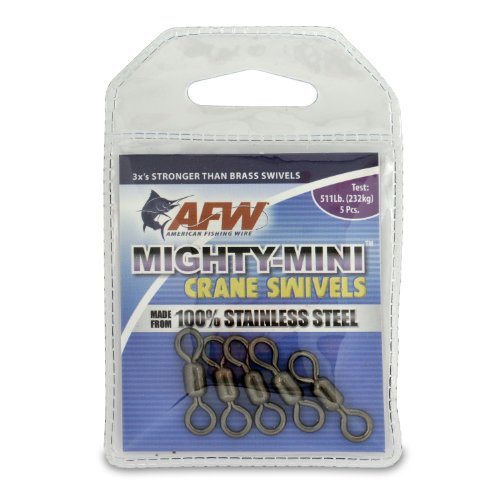 American Fishing Wire Mighty Mini Crane Swivels (100-Percent Stainless Steel), Black Color, Size 7, 180 Pound Test, 50-Pieces