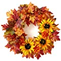 Tiny Land 24 Inches-Fall-Wreath for Front-Door-Decor Gift Box Included - Handcrafted Rattan Base - for Autumn & Thanksgiving Day