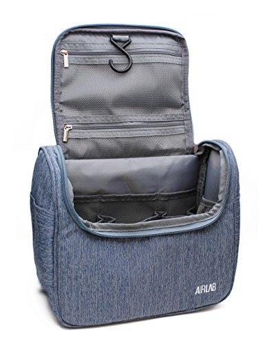 Kulturbeutel zum Aufhängen, Airlab Kulturtasche mit Tragegriff und Haken, Größe: 24 x 19,5 x 12,5cm, Denim-Blau