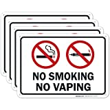No Smoking No Vaping Sign - (4 Pack) - No Smoking Signs for Business | 10x7 Inches,Rust Free 0.40 Aluminum, Fade Resistant, Indoor/Outdoor Use, Made in USA by Sigo Signs