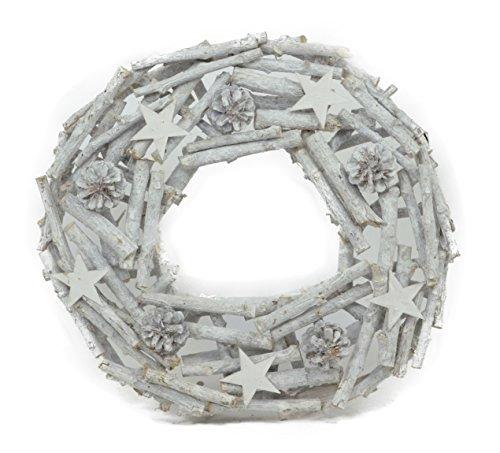 VINTAGE Ghirlanda di legno - bianco 20cm 30cm 40cm CORONA DELL'AVVENTO PORTA CORONA STELLE tannenzapfel zapfe stockkranz CORONA naturale - 40cm