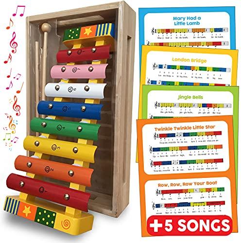 Xylophone Glockenspiel musikinstrument – träleksaker slagverk xylofon för barn leksak gåva för småbarn med gratis sånglakan, träförvaring låda och två träkonsoler – Xylophone baby musikleksak för 18 månader + 2 3 4 5 år pojkar flickor träleksaker