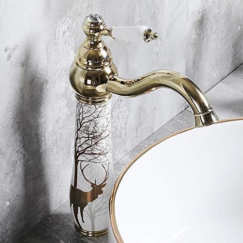 DEAN Qualitäts-Metall Keramik-Hahn Elk Bemalte Badezimmer Waschbecken Messing warmes und kaltes Wasser Anlage Home Hotel Plating einzelnes Loch-Mixing