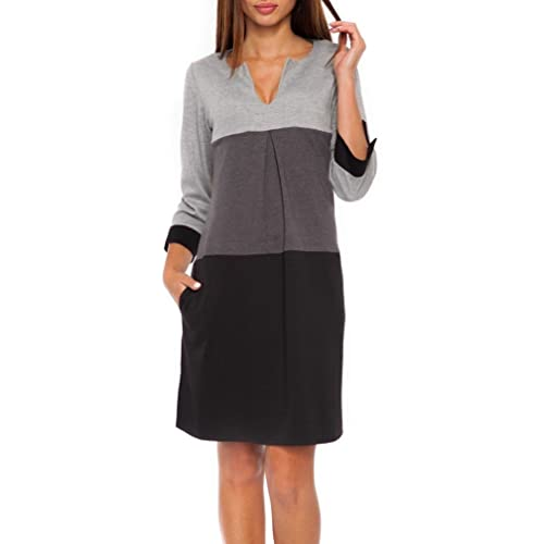 53ad6eb97fd5 Glamour Empire Women's Jersey Colour Block Shift Dress with Pockets S-2XL.